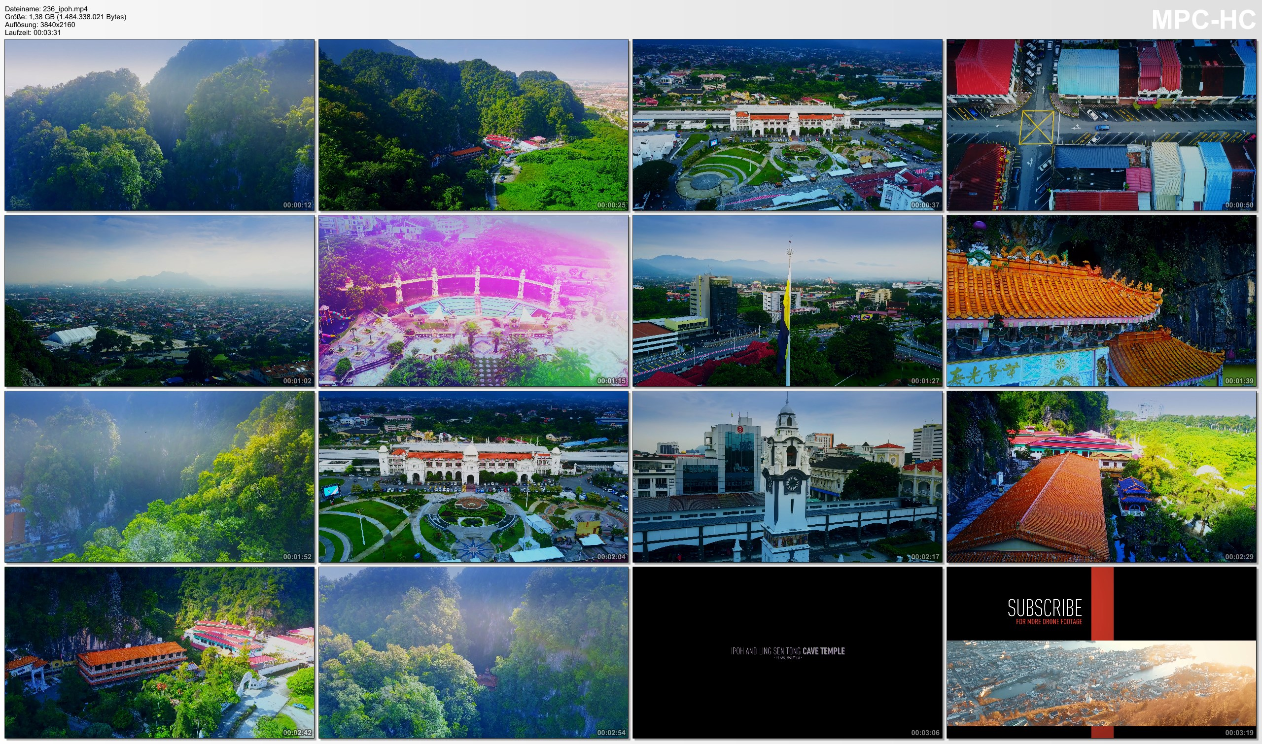 Drone Pictures from Video 【4K】Drone Footage | Ipoh and Ling Sen Tong Cave Temple 2019 ..: Perak | Truly Asia *TRAVEL MALAYSIA*