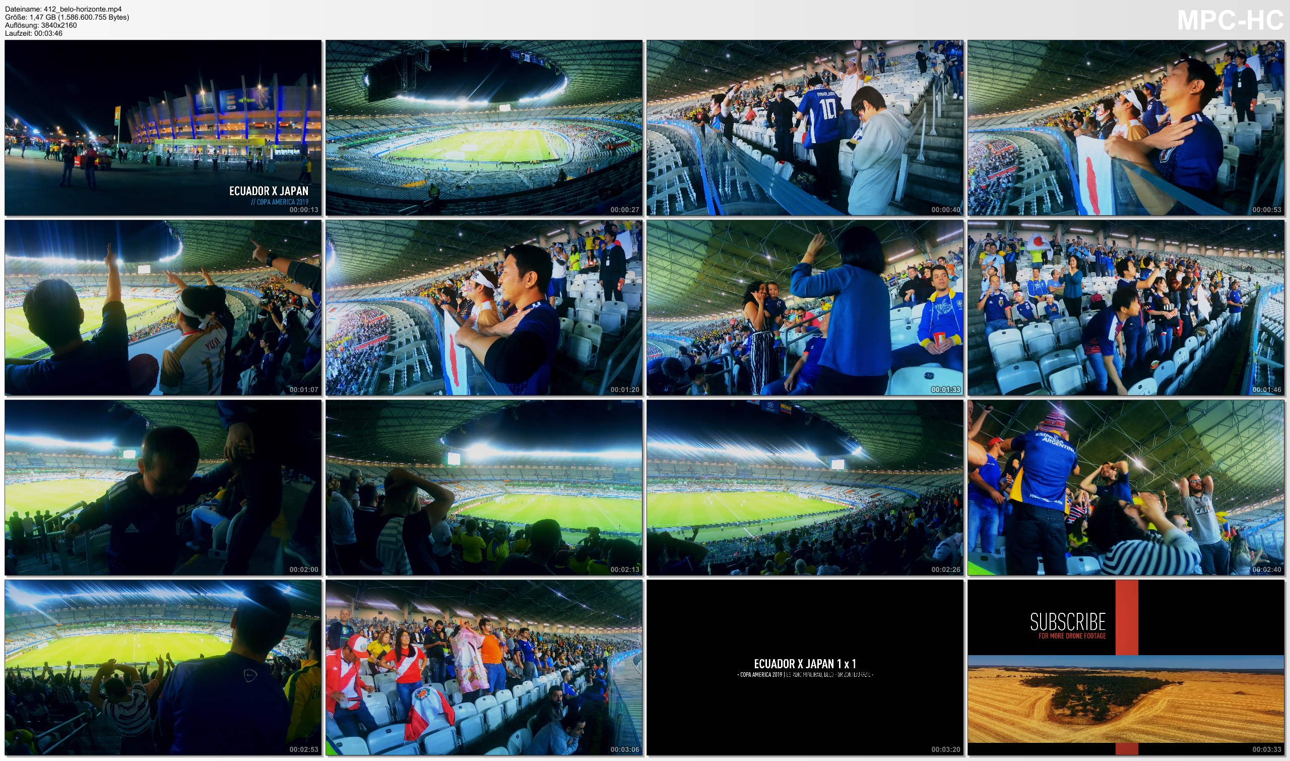 Pictures from Video 【4K】Groundhopping | Ecuador X Japan [1 x 1] 2019-06-24 | COPA AMERICA | Mineirao, Belo Horizonte 日本