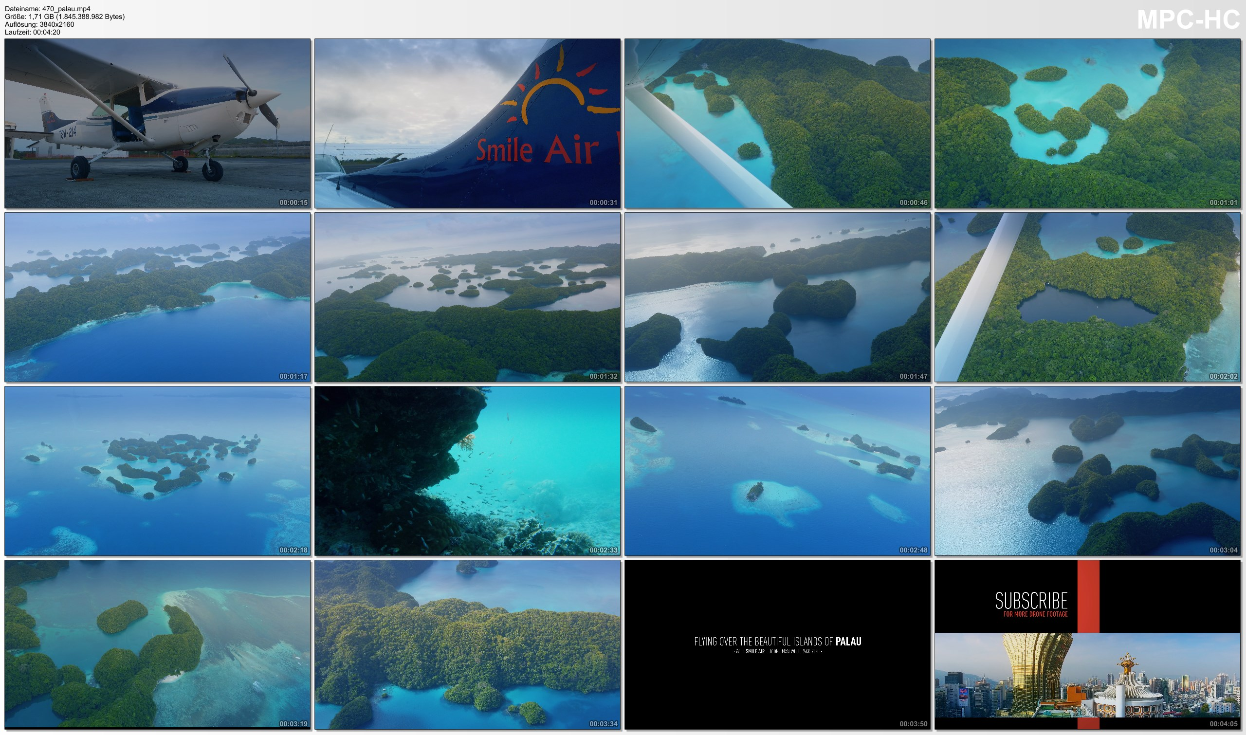 Pictures from Video 【4K】Flying over Palau | 2020 | Cessna Smile Air | Rock Islands Jellyfish Lake | UltraHD Travel Video
