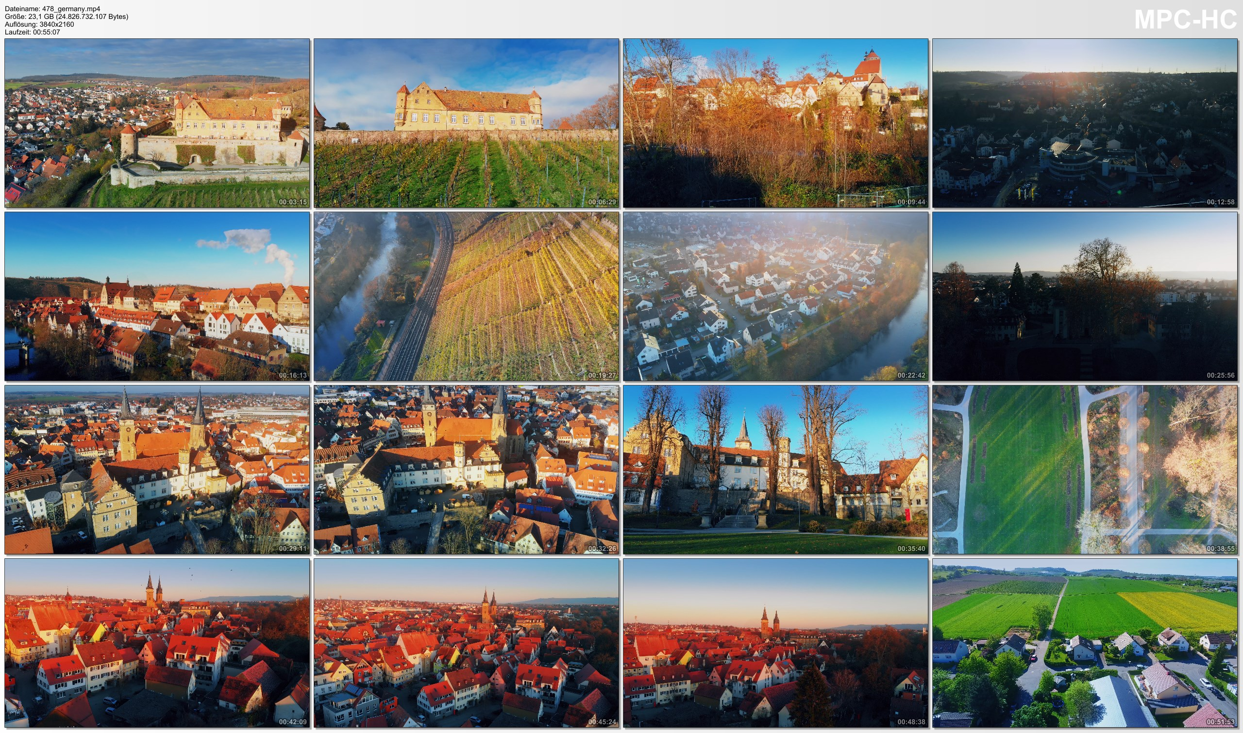 Drone Pictures from Video 【4K】Drone RAW Footage | This is GERMANY 2020 | Oehringen | Baden-Wuerttemberg | UltraHD Stock Video