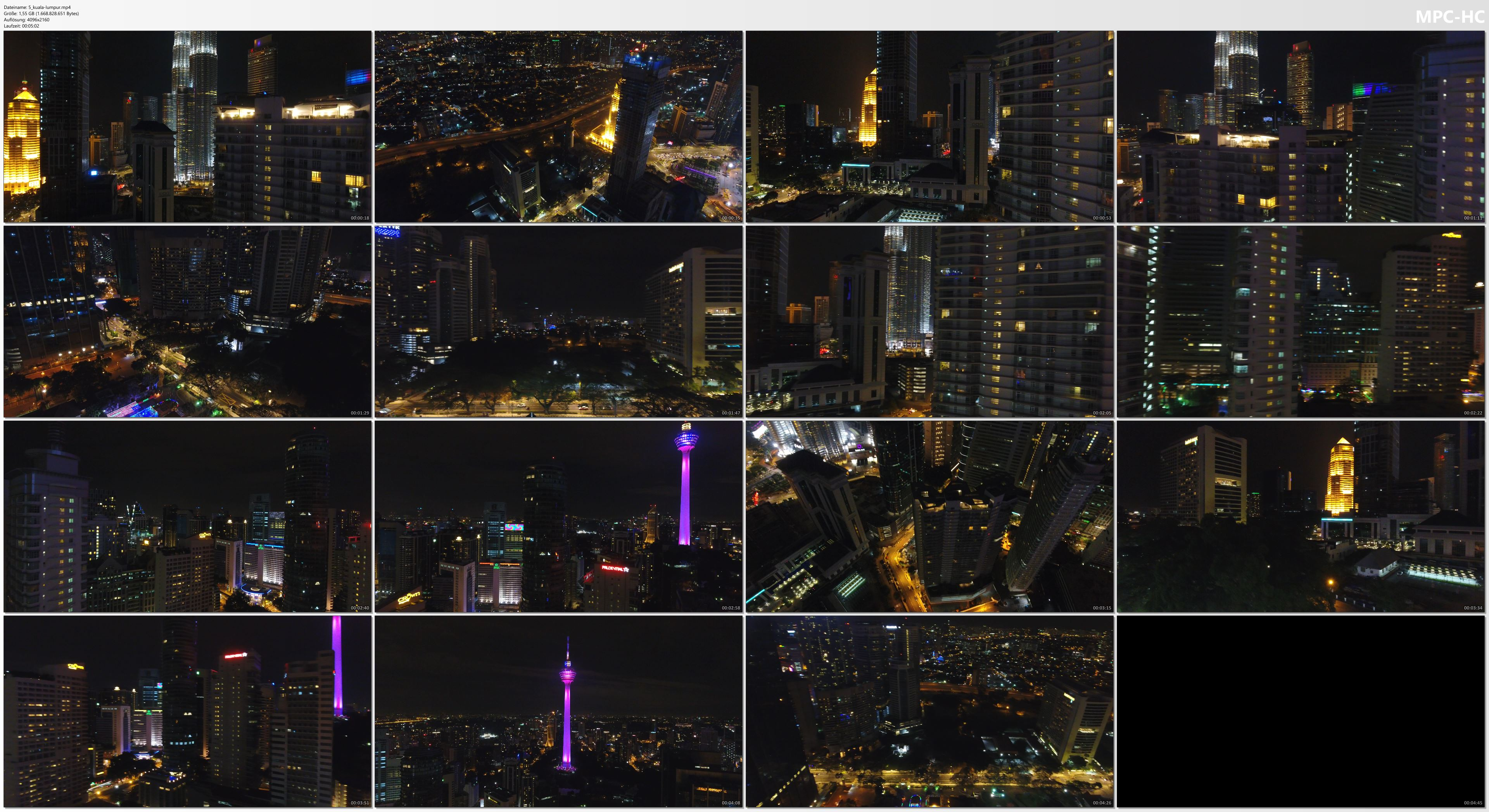 Drone Pictures from Video 4K Drone Footage KUALA LUMPUR by NIGHT [DJI Phantom 4]