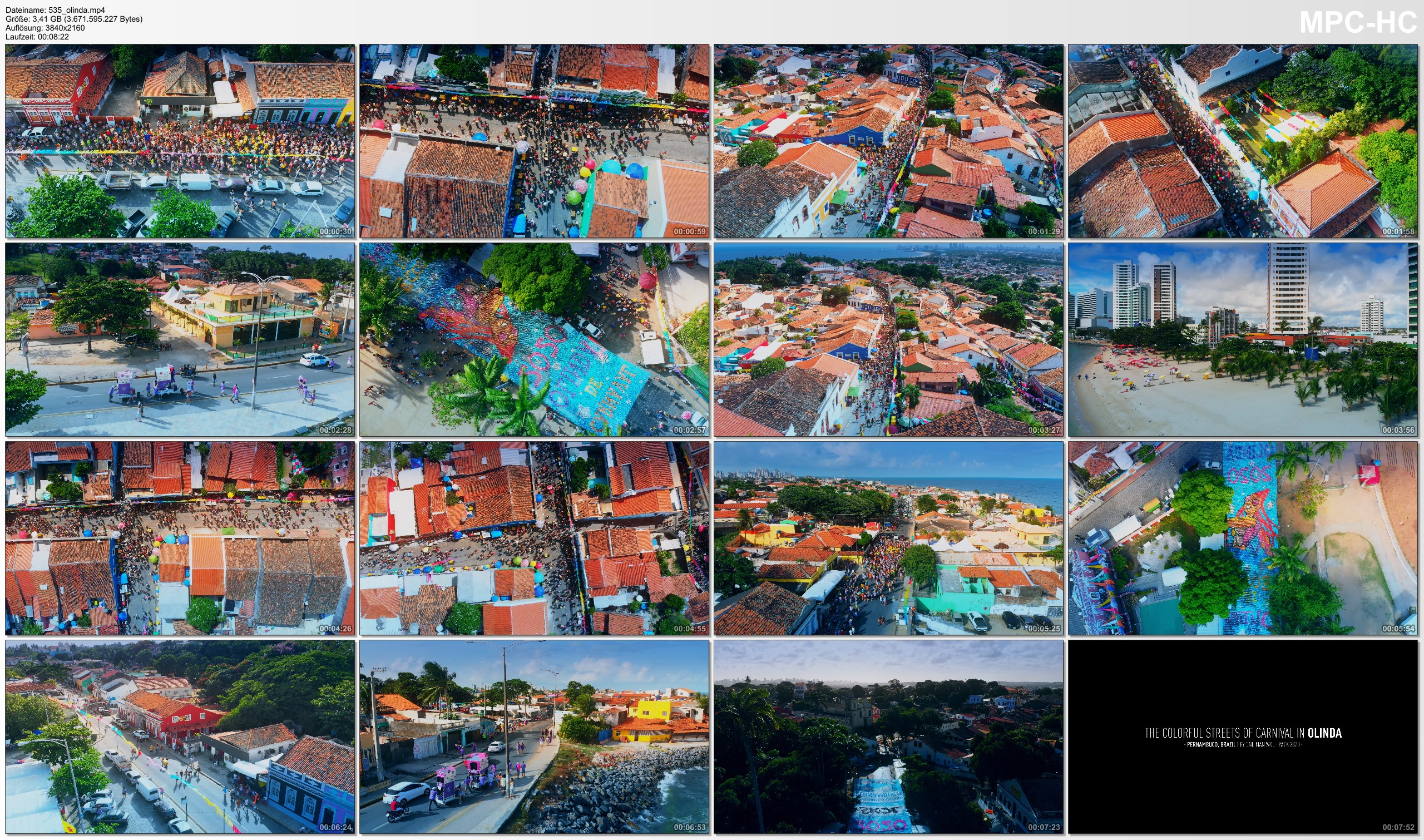 Drone Pictures from Video 【4K】The Streets of Olinda - Carnaval do BRASIL 2020 | Cinematic Aerial Film