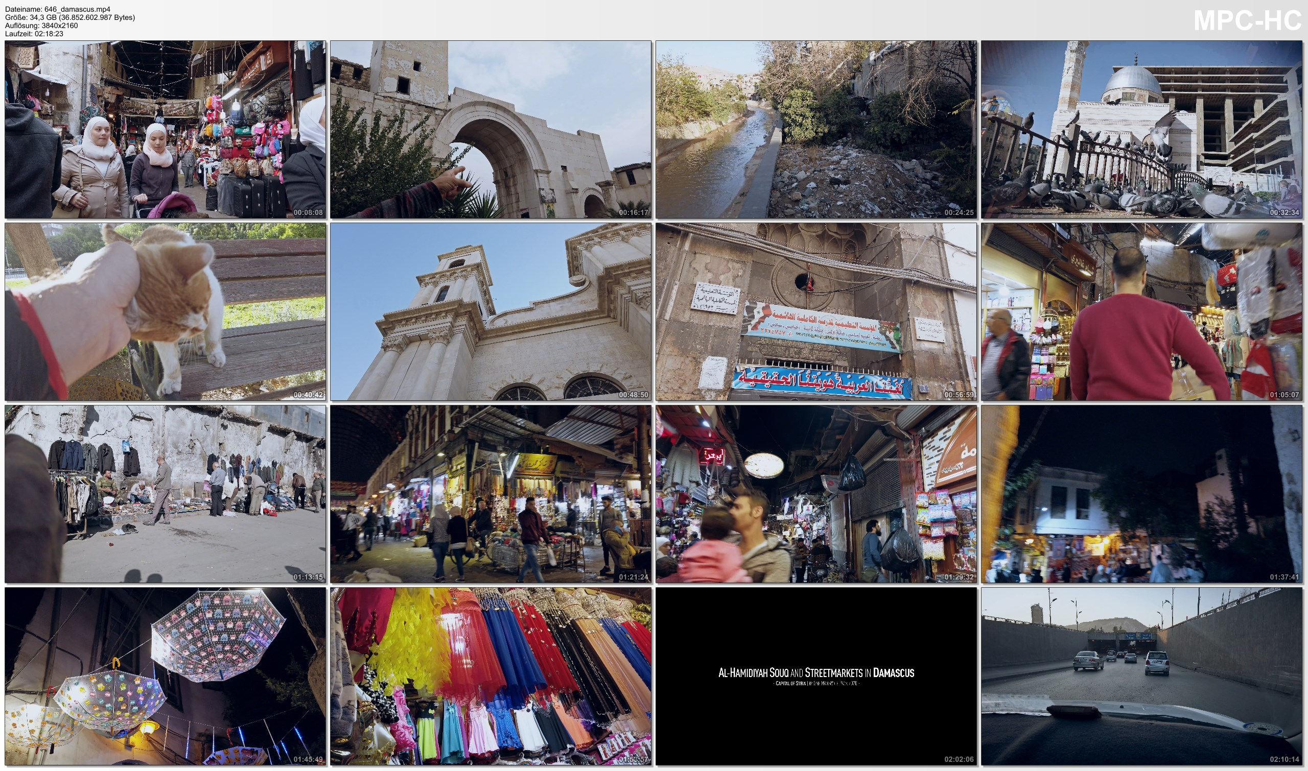 Pictures from Video 【4K】2 ¼ HOURS   Visiting Damascus - SYRIA 2020   UltraHD Travel Video