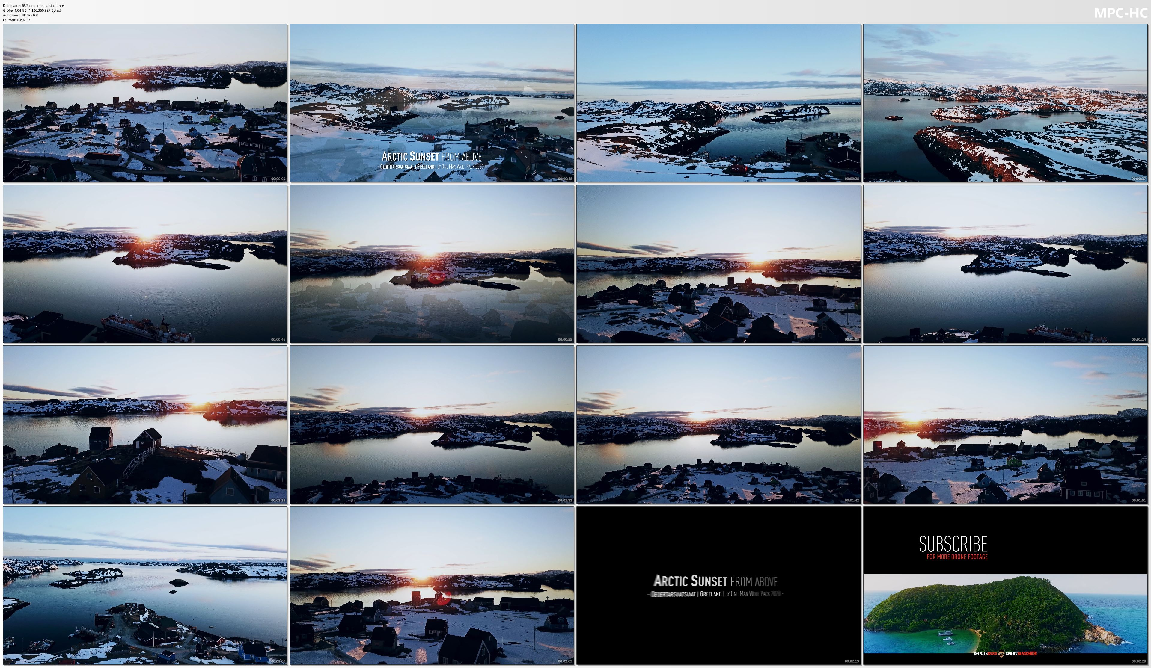 Drone Pictures from Video 【4K】Qeqertarsuatsiaat from Above - GREENLAND 2020   ARCTIC SUNSET Wolf Aerial™ Drone Film