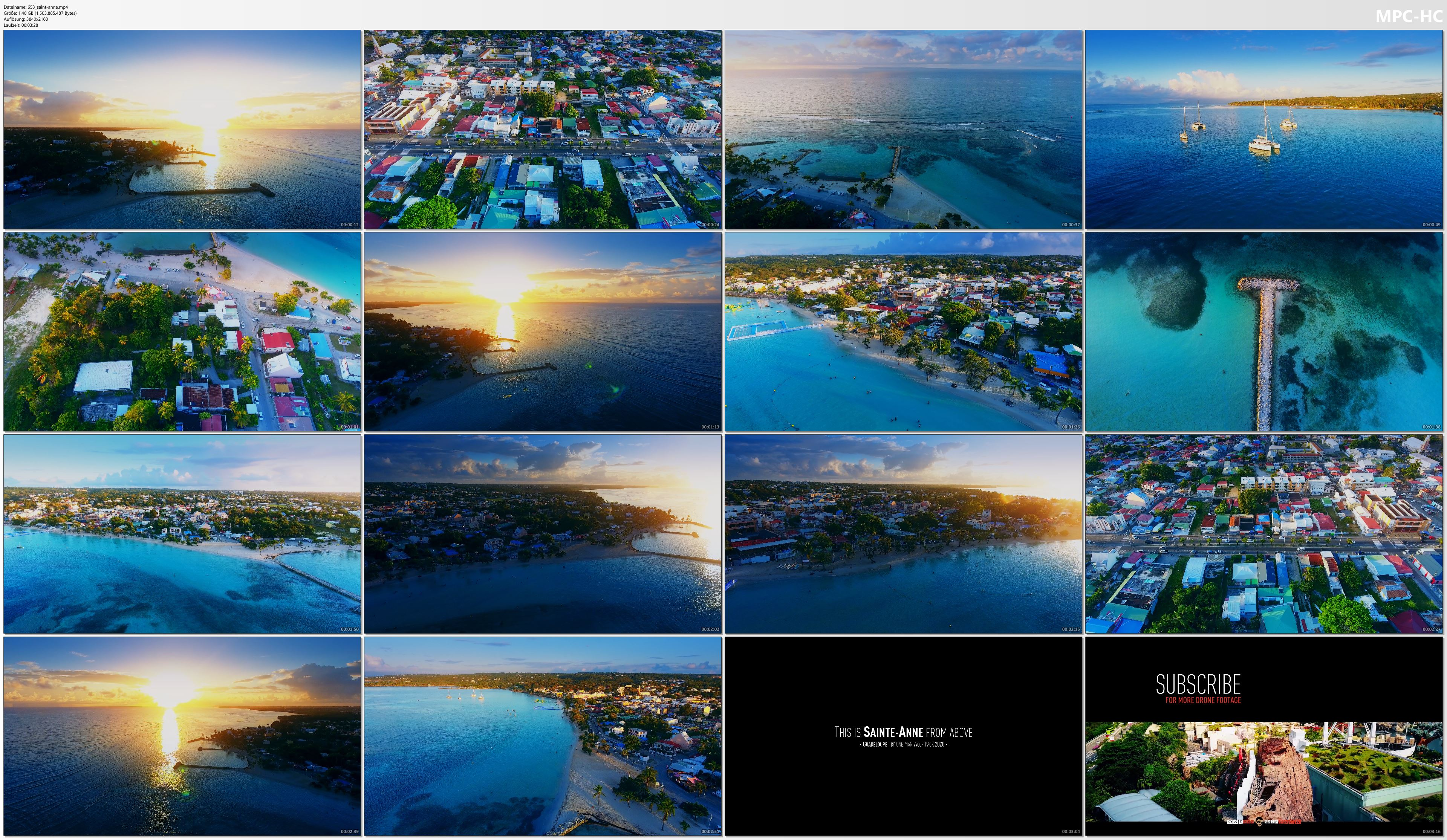 Drone Pictures from Video 【4K】Sunrise in Sainte-Anne from Above - GUADELOUPE 2020   Cinematic Wolf Aerial™ Drone Film