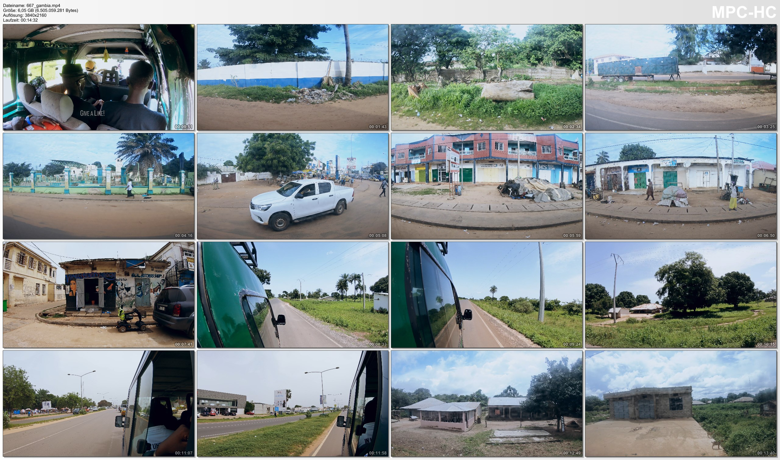 Pictures from Video 【4K】15 MINUTES | Driving The Gambia (West Africa) | 2020 | Banjul | Serekunda | UltraHD Video
