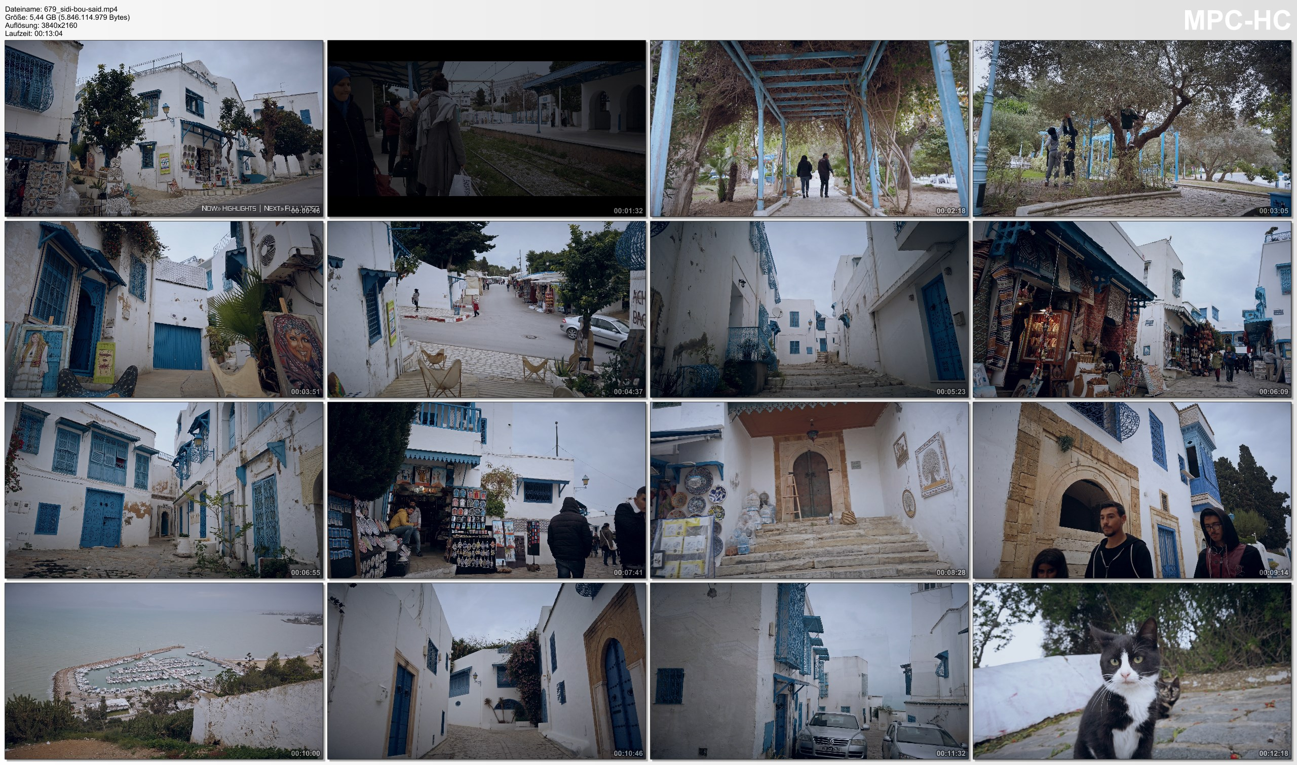 Pictures from Video 【4K】Virtual Walking Tour | Sightseeing in Sidi Bou Said - TUNISIA 2020 | UltraHD Travel Video