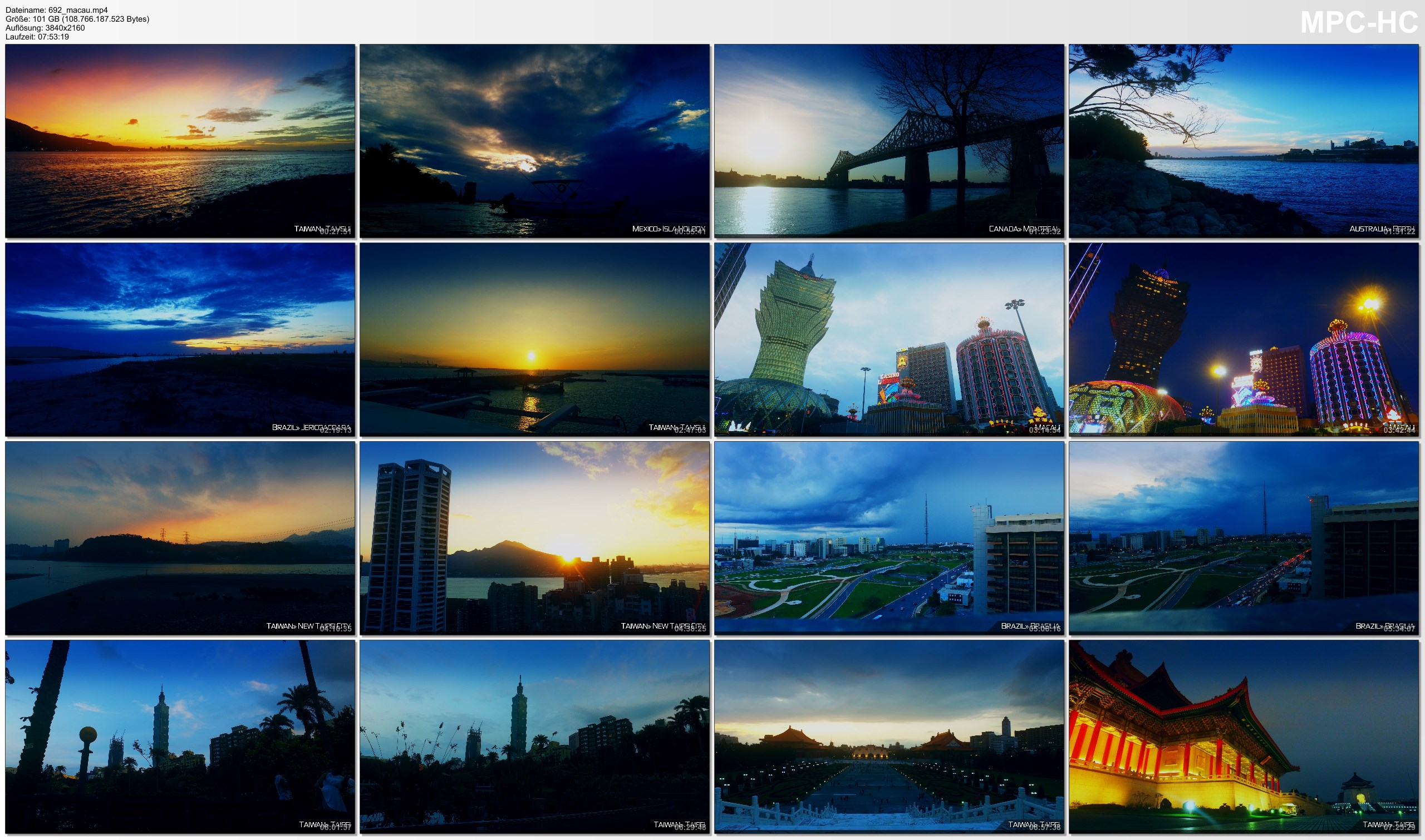 Pictures from Video 【4K】8 HOUR RELAX FILM: «Sunsets of the World» Ultra HD + Relaxation Music (for 2160p Ambient TV)