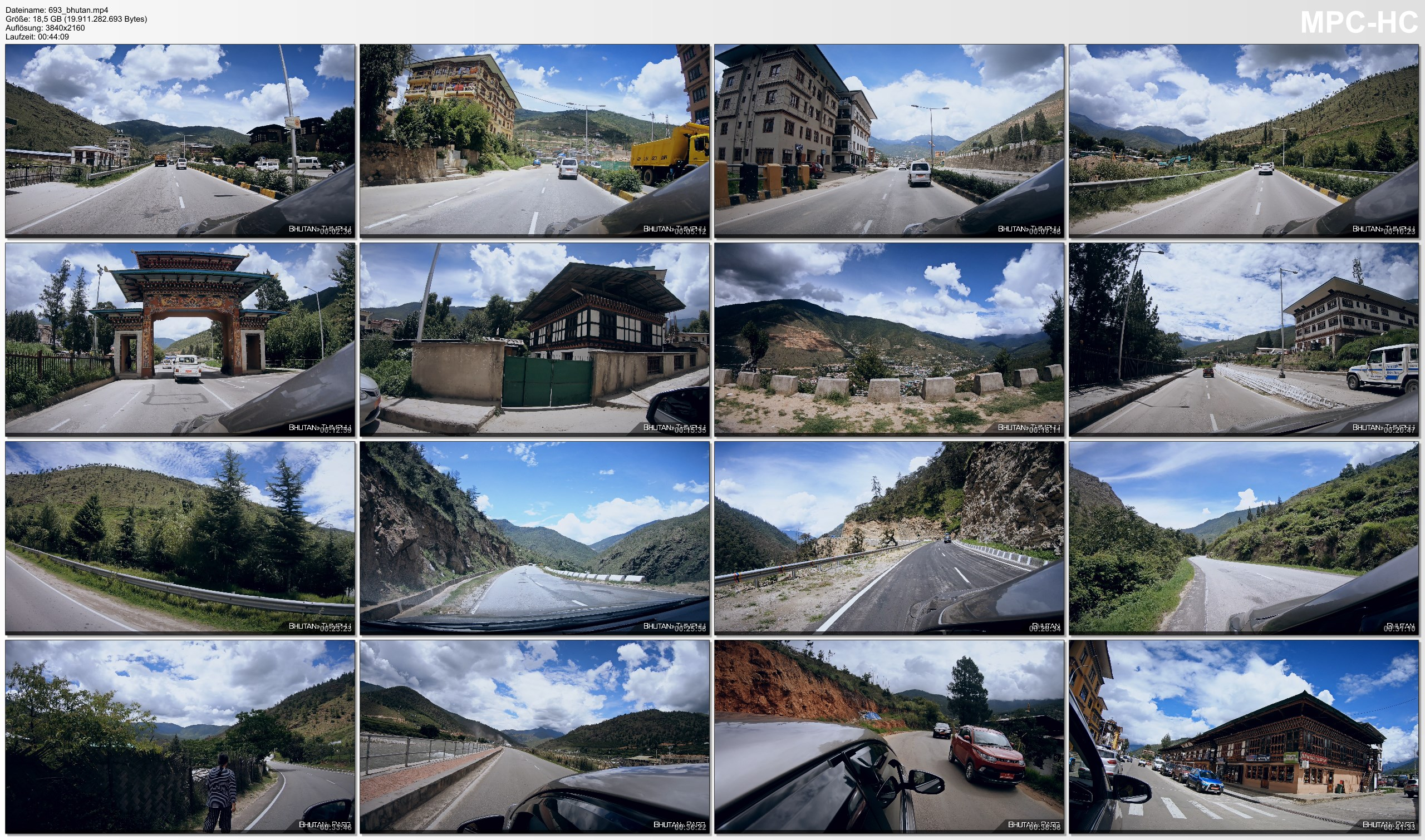 Pictures from Video 【4K】Driving around Bhutan | Paro and Capital Thimphu | Amazing Views 2020 | UltraHD Travel Video