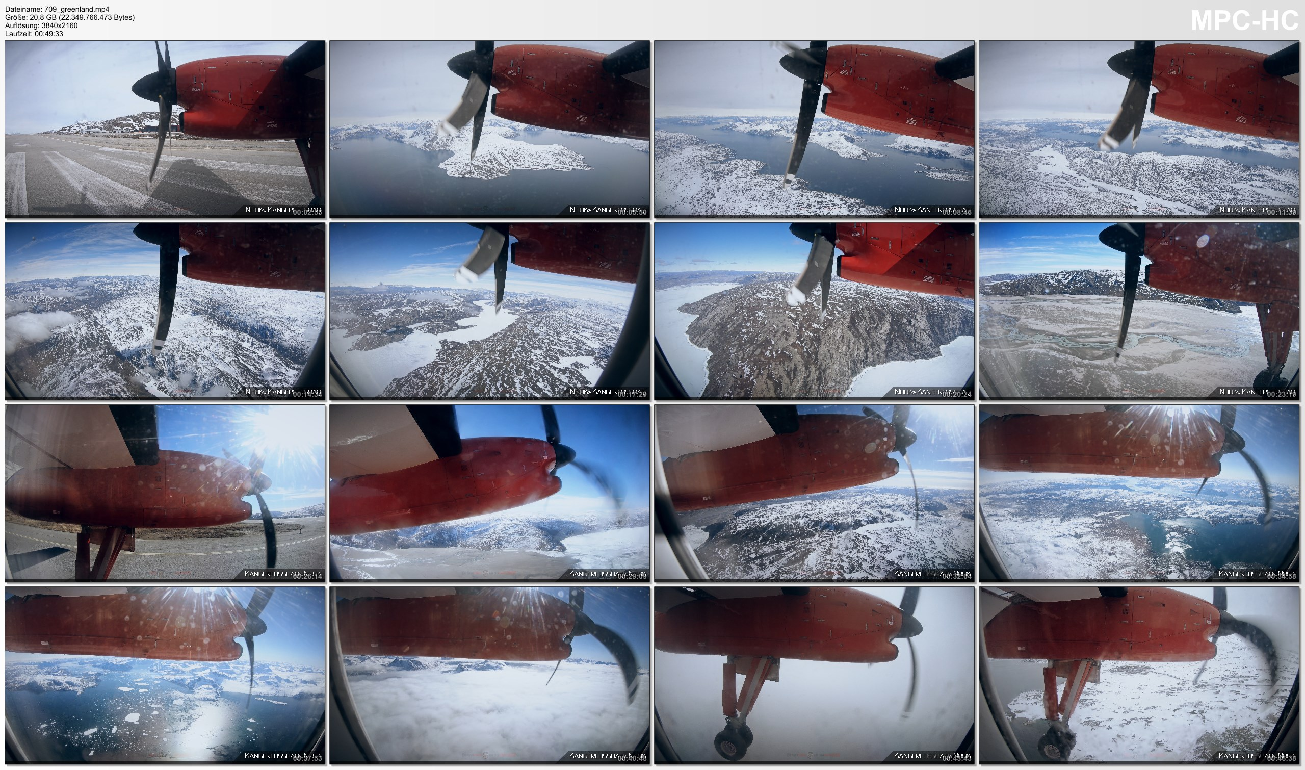 Pictures from Video 【4K】Flight Footage   Air Greenland   Return Trip   Nuuk to Kangerlussuaq   2020   Propeller Plane