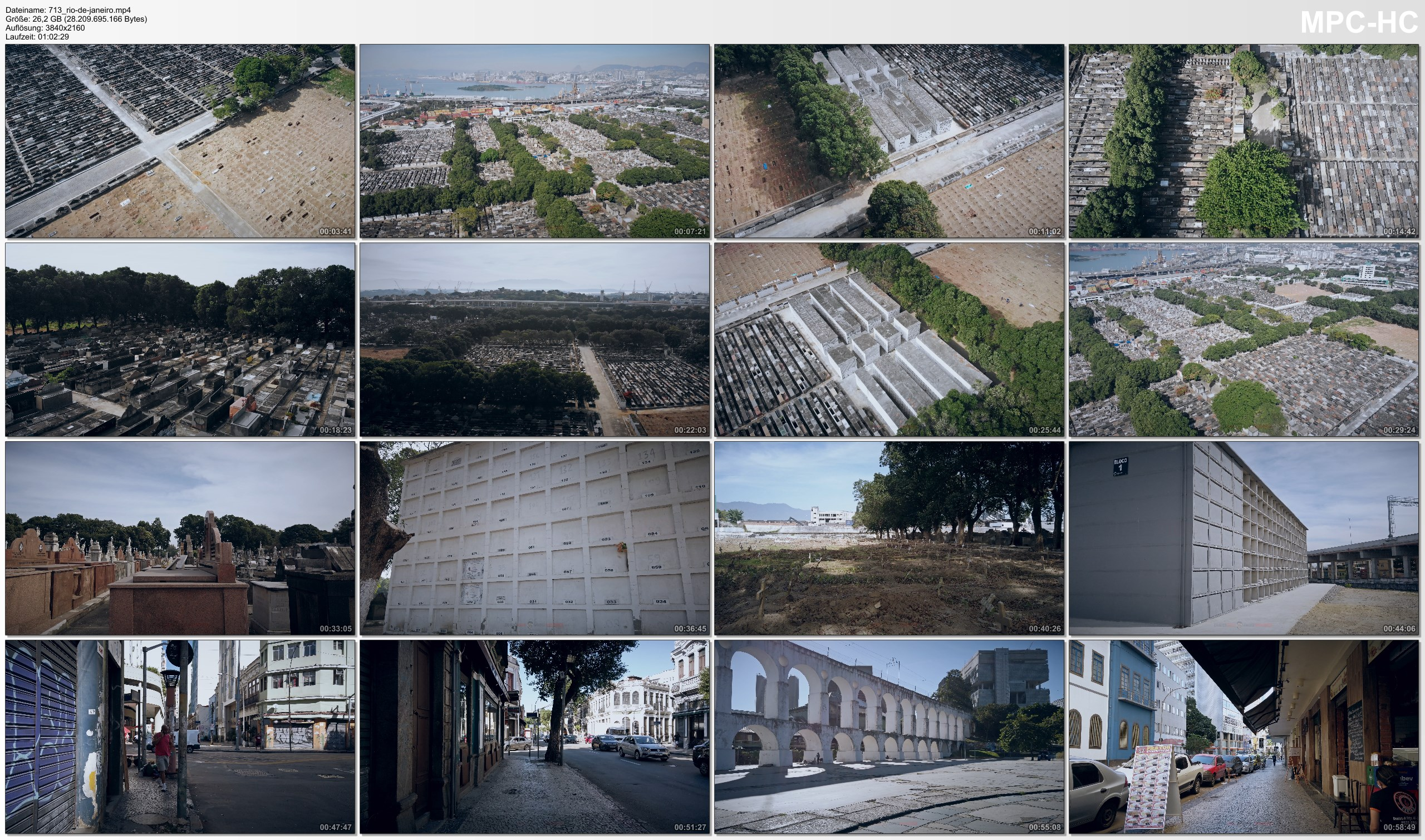 Drone Pictures from Video 【4K】1 HOUR DRONE FILM: «Covid-19 Cemetery | Caju, Rio de Janeiro» Ultra HD (for 2160p Ambient TV)