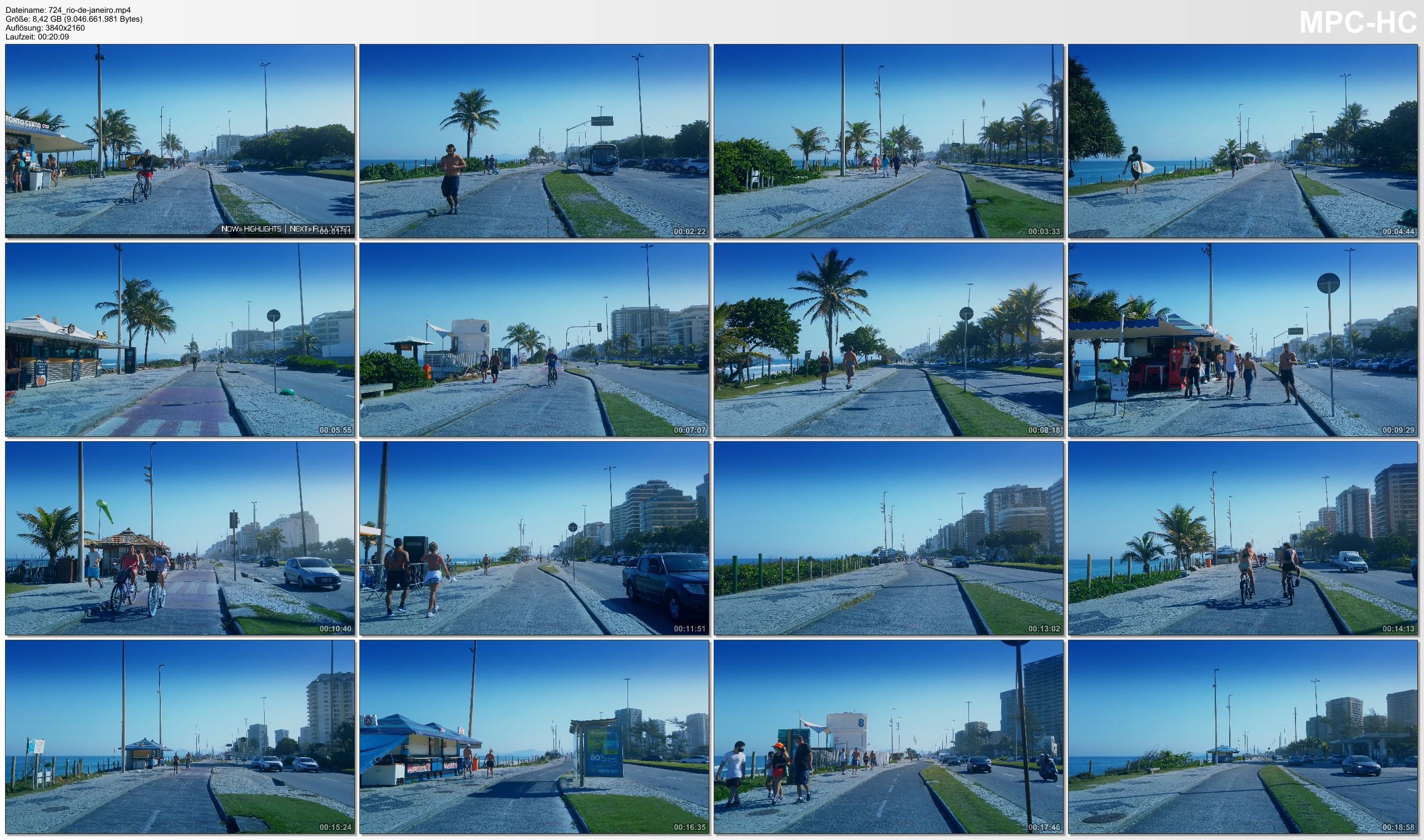 Pictures from Video 【4K】20 MIN RELAXATION FILM: «Cycling in Barra da Tijuca (Brazil)» Ultra HD (for 2160p Ambient TV)