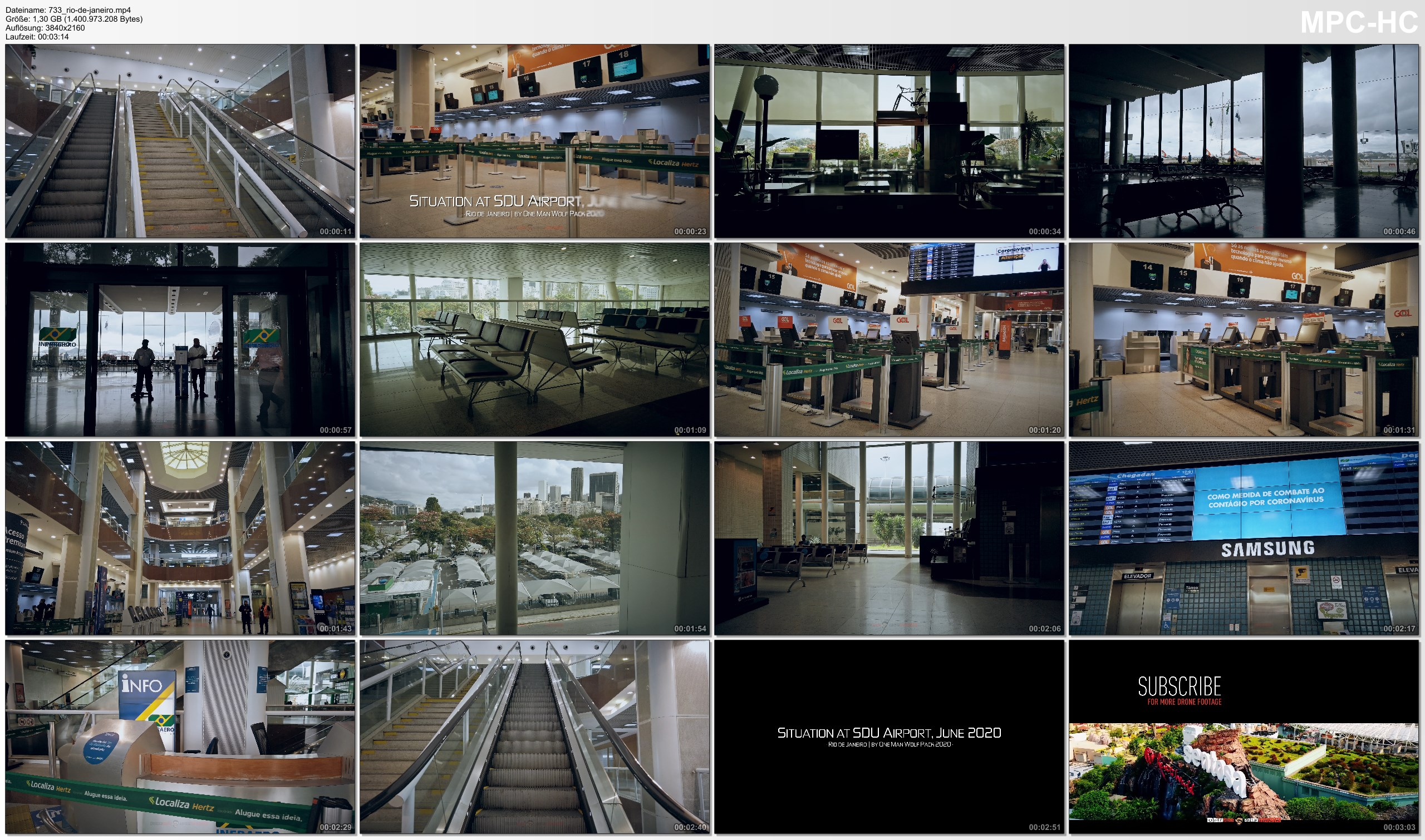 Pictures from Video 【4K】VIRTUAL WALKING TOUR: «Lockdown in Rio de Janeiro - Santos Dumont Airport Brazil 2020» Covid-19