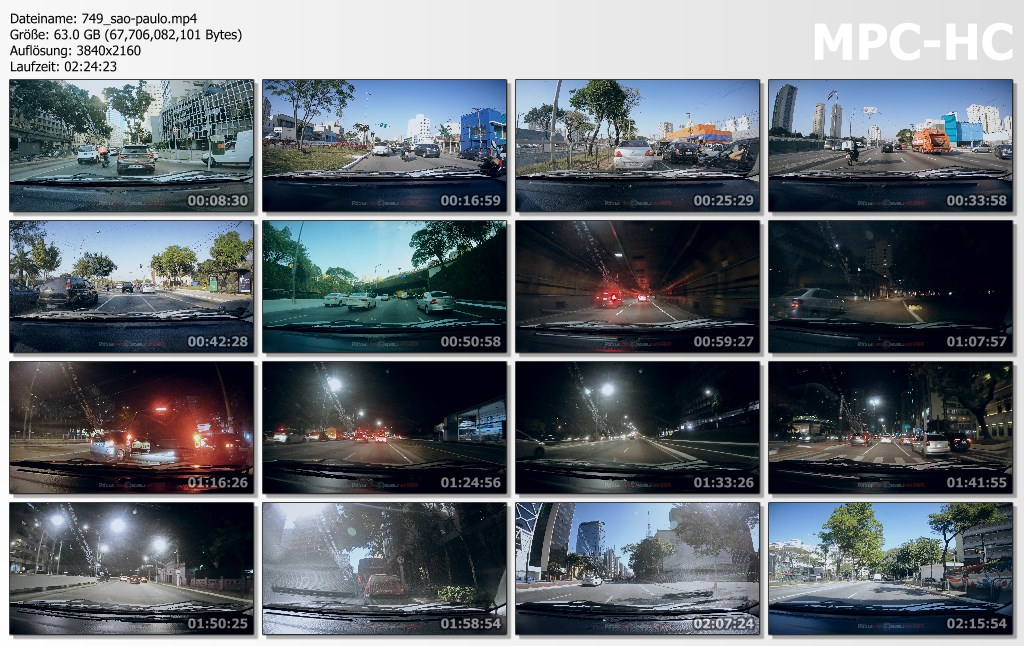 Pictures from Video 【4K】2.5 HOUR RELAXATION FILM: «Driving in Sao Paulo (Brazil)» Ultra HD (for 2160p Ambient TV)