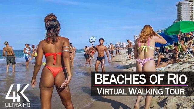 【4K 60fps】VIRTUAL BEACH WALKING TOUR: «Leblon to Copacabana - Brasil 2021» | Original Sounds UHD