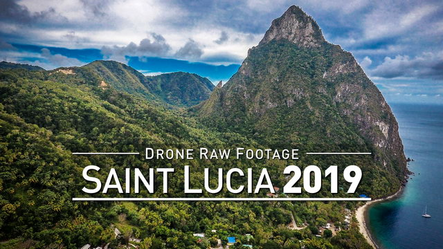 【4K】Drone RAW Footage | SAINT LUCIA 2019 ..:: Castries :: Soufriere | UltraHD Stock Video