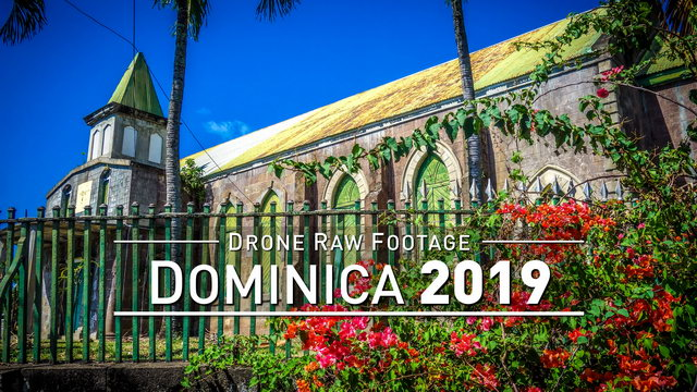 【4K】Drone RAW Footage | DOMINICA 2019 ..:: Roseau :: Marigot :: Pont Casse | UltraHD Stock Video