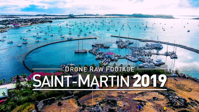 【4K】Drone RAW Footage | SAINT-MARTIN 2019 ..:: Marigot | UltraHD Stock Video