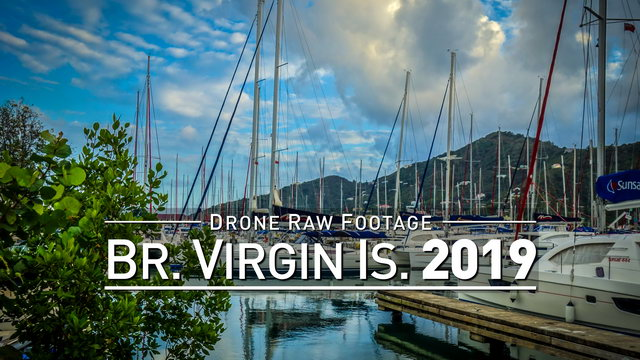 【4K】Drone RAW Footage | BRITISH VIRGIN ISLANDS 2019 ..:: Tortola :: Road Town | UltraHD Stock Video