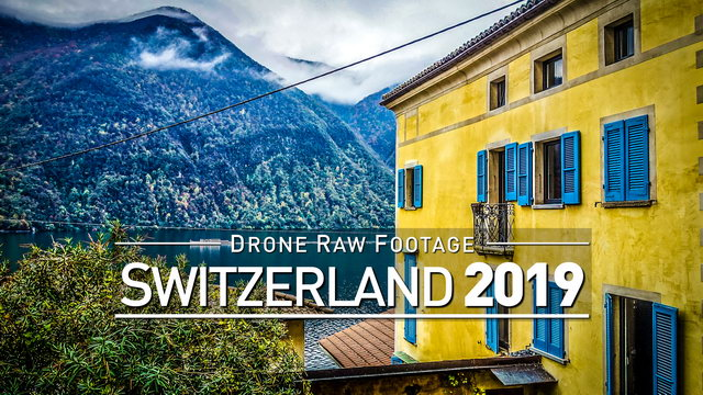 【4K】Drone RAW Footage | SWITZERLAND 2019 ..:: Lugano :: Gandria | UltraHD Stock Video