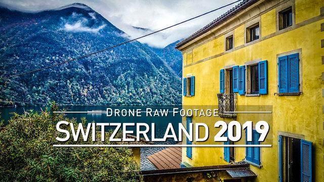 【4K】Drone RAW Footage | SWITZERLAND 2019 ..:: Lugano :: Gandria | UltraHD Stock Video
