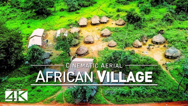 【4K】Footage | Tanene, Guinea - A traditional Village in West Africa 2019 .: Aerial Drone Birds View