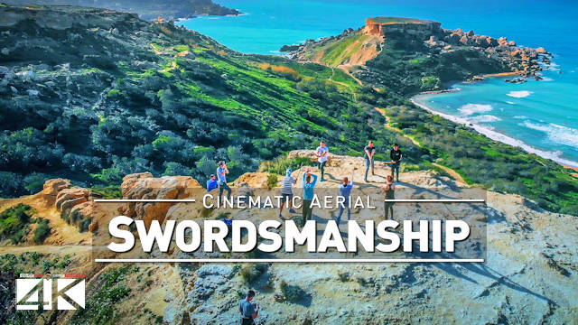 【4K】Drone Footage | Swordsmanship at Ghajn Tuffieha Golden Bay - MALTA 2020 | Cinematic Aerial Film