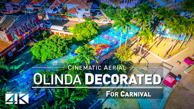 【4K】Beautiful Carnival Decoration in Olinda (PE) | Carnaval do BRASIL 2020 | Cinematic Aerial Film