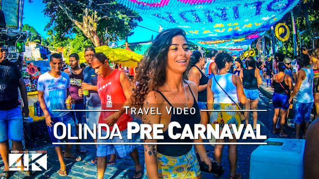 【4K】Pré-Carnaval em Olinda (Brasil) | Praça do Carmo Brazilian Carnival 2020 | UltraHD Travel Video