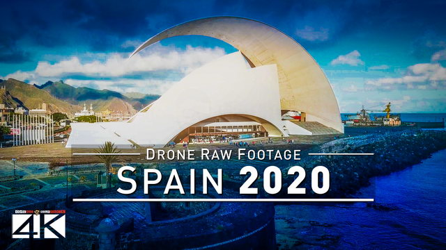 【4K】Drone RAW Footage | This is SPAIN 2020 | Santa Cruz de Tenerife | UltraHD Stock Video