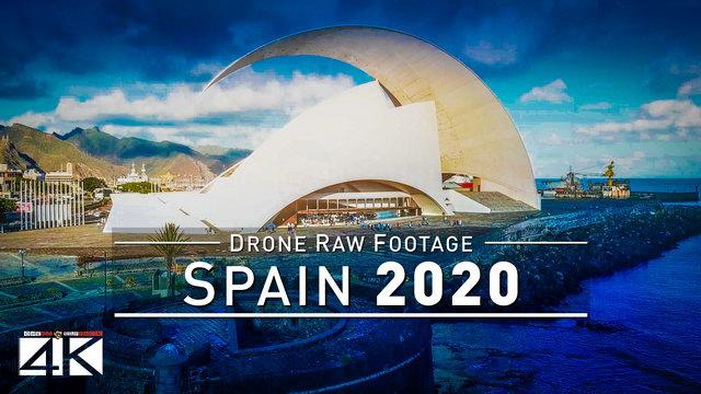 【4K】Drone RAW Footage | This is SPAIN 2020 | Santa Cruz de Tenerife | UltraHD Stock Video
