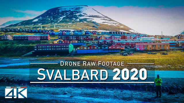 【4K】Drone RAW Footage | This is SVALBARD AND JAN MAYEN 2020 | Longyearbyen | UltraHD Stock Video