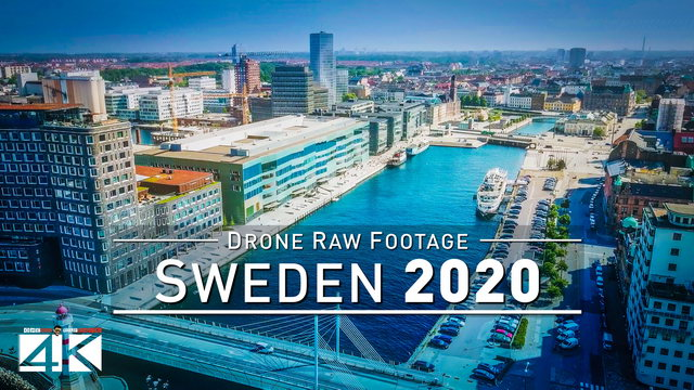 【4K】Drone RAW Footage | This is SWEDEN 2020 | Malmö | UltraHD Stock Video