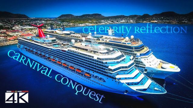 【4K】CRUISE SHIPS from Above | Carnival Conquest & Celebrity Reflection | St. Kitts Cinematic Aerial™