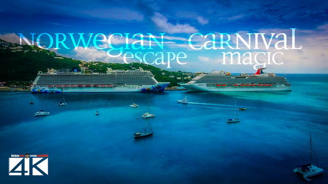 【4K】CRUISE SHIPS from Above | Carnival Magic & Norwegian Escape 2020 | USVI | Cinematic Wolf Aerial™