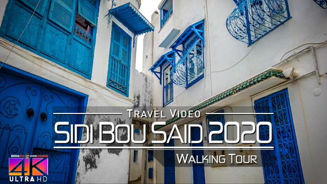 【4K】Virtual Walking Tour | Sightseeing in Sidi Bou Said - TUNISIA 2020 | UltraHD Travel Video