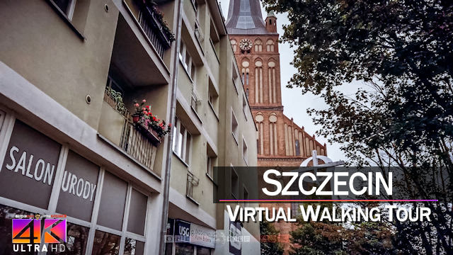 【4K 60fps】VIRTUAL WALKING TOUR: «Szczecin - Poland 2021» | Binaural Sounds UltraHD (for 2160p TV)