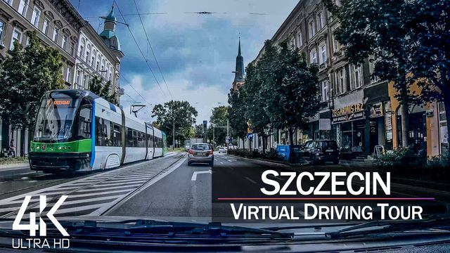 【4K 60fps】¾ HOUR RELAXATION FILM: «Driving in Szczecin (Poland)» Ultra HD (for 2160p Ambient TV)