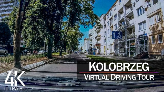 【4K 60fps】½ HOUR RELAXATION FILM: «Driving in Kolobrzeg (Poland)» Ultra HD (for 2160p Ambient TV)