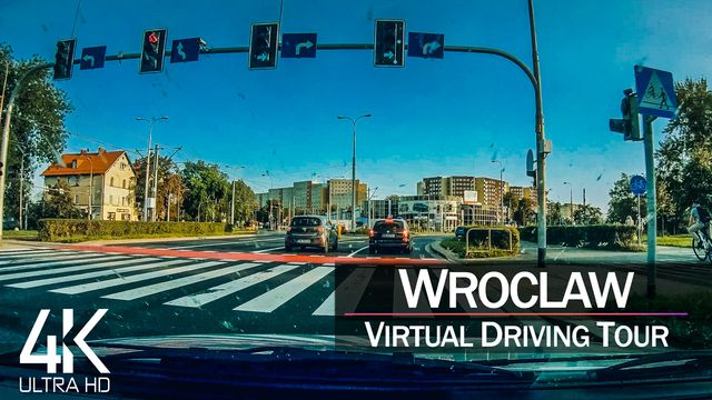 【4K 60fps】½ HOUR RELAXATION FILM: «Driving in Wroclaw (Poland)» Ultra HD (for 2160p Ambient TV)