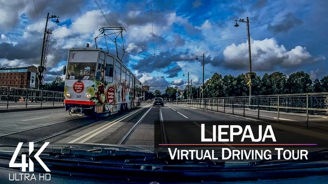【4K 60fps】½ HOUR RELAXATION FILM: «Driving in Liepaja (Latvia)» Ultra HD (for 2160p Ambient TV)