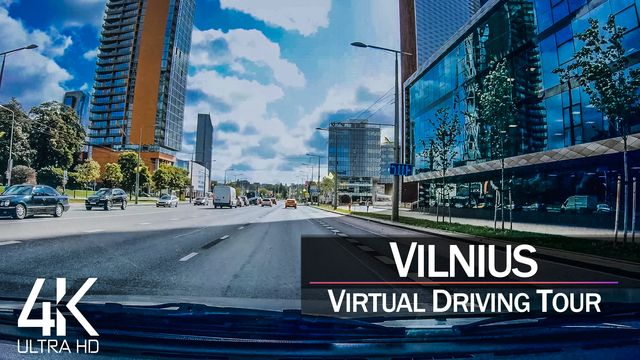 【4K 60fps】½ HOUR RELAXATION FILM: «Driving in Vilnius (Capital of Lithuania)» Ultra HD (2160p TV)
