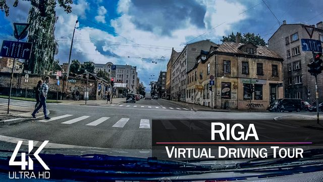 【4K 60fps】¾ HOUR RELAXATION FILM: «Driving in Riga (Capital of Latvia)» Ultra HD (for 2160p TV)