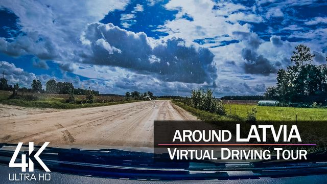 【4K 60fps】¼ HOUR RELAXATION FILM: «Driving in Latvia (Countryside)» Ultra HD (for 2160p TV)