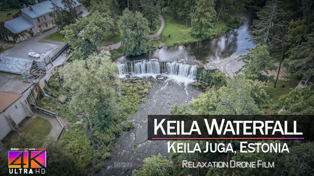 【4K】½ HOUR DRONE FILM: «Keila Waterfall» | Ultra HD | Chillout Music (for 2160p Ambient TV)