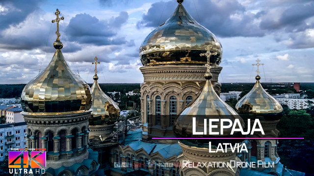 【4K】¼ HOUR DRONE FILM: «Sunset in Liepaja» | Ultra HD | Chillout Music (for 2160p Ambient TV)