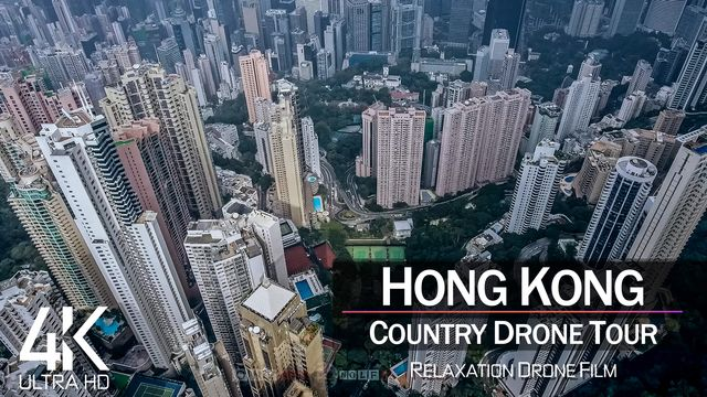 【4K】¼ HOUR DRONE FILM: «Hong Kong» | Ultra HD | Chillout Music (for 2160p Ambient UHD TV) | 816