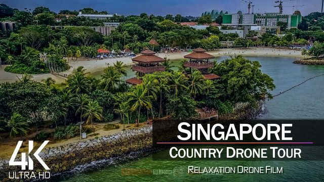 【4K】¾ HOUR DRONE FILM: «The Beauty of Singapore» | Ultra HD | Chillout (2160p Ambient UHD TV)