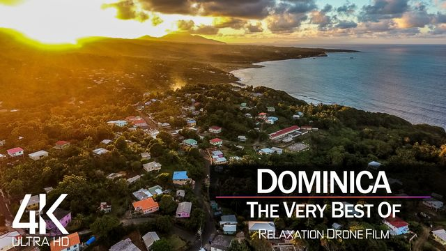 【4K】¼ HOUR DRONE FILM: «The Beauty of Dominica 2021» | Ultra HD | Chillout Music (Ambient TV)
