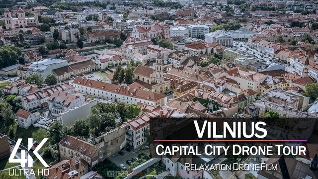 【4K】½ HOUR DRONE FILM: «Vilnius - Lithuania» | Ultra HD | Chillout (for 2160p Ambient UHD TV)